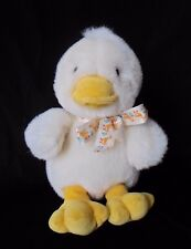 "Vintage Baby Gund Chick Duck Bow Ribbon White Yellow Rattle 8"" Plush Stuffed"