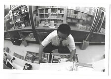 Vintage 70s b&w PHOTO Man Working In Photo Film Processing Department Store