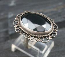 Vintage 925 Sterling Silver HEMATITE Flower Cocktail Ring Size 5