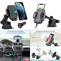 QI Wireless Fast Charger Car Cradle Holder Mount for Galaxy Note 10 / iPhone SE