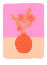 FINE ART GREETING CARD FLOWERS Pink Vase BIRTHDAY Blank RISOGRAPH MELISSA DONNE
