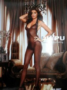 Ladies classic black sheer bodystockings open crotch bedroom intimate lingerie