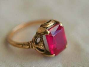 14k Rose Gold Over 3.00 Ct Emerald Brilliant Cut Ruby Vintage Engagement Ring