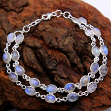 Father's day sale Natural Rainbow Oval Moonstone 925 Sterling Silver Bracelet