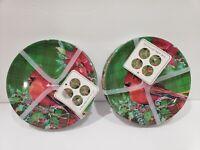 "8pc Christmas Fig & Fern Red Cardinal Appetizer 6"" Melamine Plates"