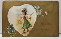 Valentine's Greeting Embossed Girl In Heart Gold Gild Postcard B14