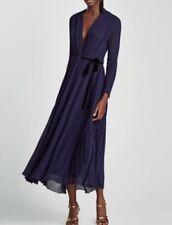 Brand New Zara AW17 Crossover Wrap Long Dress Velvet Belt Midnight Blue S