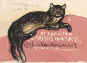 Exposition Animaliers Théophile Alexandre Steinlen Art Nouveau Cats Poster