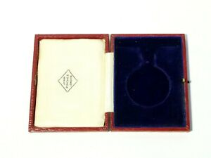 Antique EMPTY Red John Pinches Branded Inset Medal Box #JPL