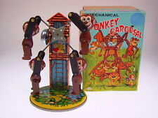 """MONKEY CAROUSAL WITH RINGING BELL"" YONE, 19cm, WIND UP, NEU/NEW/NEUFnBOX !"