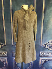 Vintage 1960's Herringbone Tweed Woven Pussy Bow Go Go Dress XS/S Shift Button