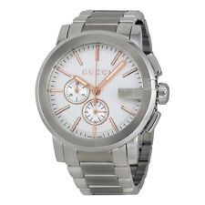 Gucci G-Chrono Chronograph Silver Dial Stainless Steel Mens Watch YA101201