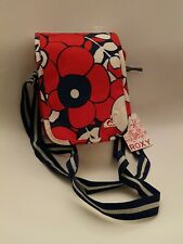 Ladies Small Messenger Roxy Bag Red/Navy & White Floral Design New With Tag