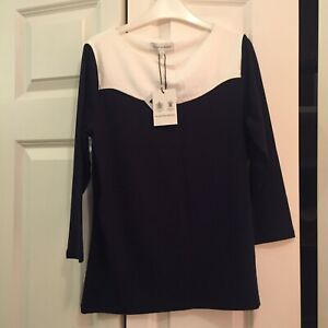 Brand New Austin Reed Navy And White Top S