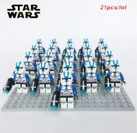 21Pcs Minifigures Star Wars Blue Clone Trooper 501st Clone Army Trooper