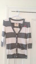 HOLLISTER Women's Gray White Stripe Cardigan Sweater Size Small