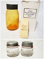 Vtg Amber Ball Buffalo Jar 1885 Souvenir Reproduction & 2 Self Sealing kerr Jars