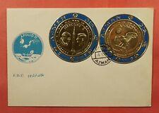 1970 AJMAN FDC SPACE JFK MERCURY 3 + APOLLO 11 GOLD FOIL COIN STAMPS  196075