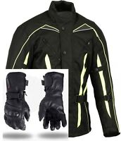 Hi Visibility Motorcycle Jacket Waterproof + Motorbike Leather Gloves