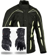 Hi Visibility Motorcycle Jacket Waterproof + Motorbike Leather Gloves