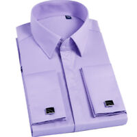 New Men's French Cuff Formal Slim Casual Shirts Business Dress Shirts TAT6432