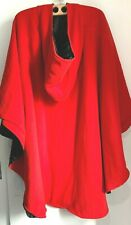 Red/Black cape with hood Large/XL (18-22)Water repellent Reversible Fleece/poly