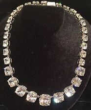 Kenneth Jay LANE KJL CZ by Statement Designer Crystal Necklace Silver Tone NEW