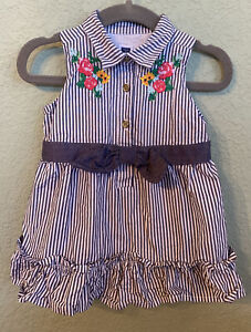 Janie And Jack 6-12 Months Summer Spring Striped Floral Collar Sleevless Dress