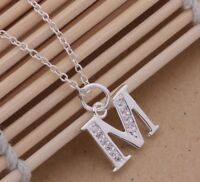 925 Sterling Silver LETTER M Austrian Crystal Pendant Charm Necklace Chain Gift
