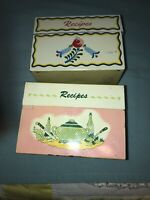 Vintage Two Tin Recipe Boxes 1960s-1970s Metal Unmarked