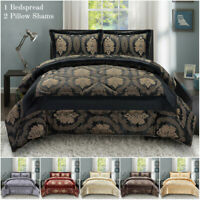 Bedspread Quilted Comforter Set Throw With 2 Pillow Shams Double King Super King