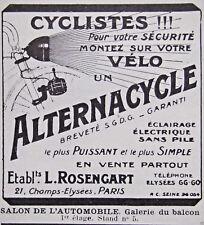 PUBLICITÉ 1923 ROSENGART ALTERNACYCLE ÉCLAIRAGE ÉLECTRIQUE SANS PILE POUR VÉLO