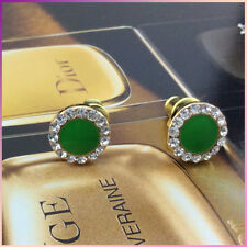 18K Gold Plated GP Stud Earrings With Crystal Christmas Green Gift