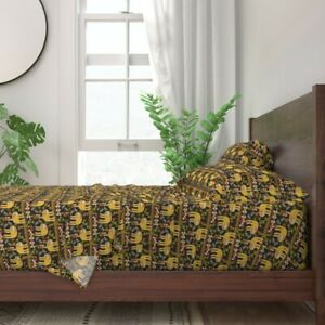 Yellow Sleeping Tropical Sloth 100% Cotton Sateen Sheet Set by Roostery