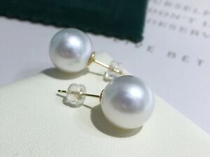 GENUINE 12 mm real natural South Sea White Pearl Sutd Earrings 18K YELLOW GOLD