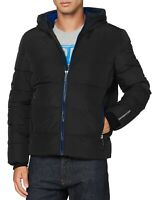 Superdry Mens Sports Quilt Hooded Zip Up Puffer Jacket Padded Winter Coat Black