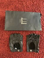 $300 Alfred Dunhill Racing Driving Leather Gloves Fingerless Black Perforated XL