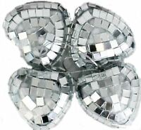 4 Craft Mirror Mini HEART 4cm Silver Disco Bauble Home Party Decor Gift Frozen