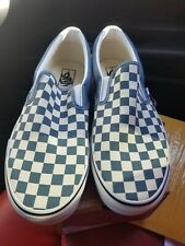 Vans Authentic Classic Slip-on Checkerboard Blue White size 10.5 NIB
