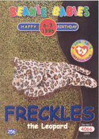 TY Beanie Babies BBOC Card - Series 2 Birthday (BLUE) - FRECKLES the Leopard