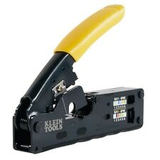 Klein Tool Compact Ratcheting Modular Crimper Cuts Strips and Crimps Data Cables
