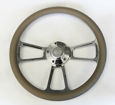 "Grey &Billet Steering Wheel 14"" SS Center Cap Fits Ididit & Flaming River Column"