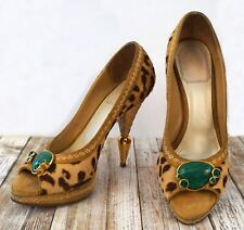 CHRISTIAN DIOR 37.5 Leopard Calf Hair Woven Raffia Malachite Platform Pumps Heel