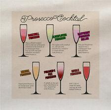 Prosecco ricette COCKTAIL bevande Tessuto Pannello di fare un Cuscino Tappezzeria Craft