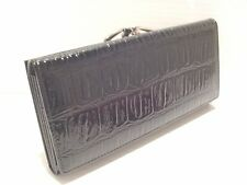 CROCODILE PRINT COWHIDE LEATHER LADIES CLUTCH WALLET HAND PURSE BLACK
