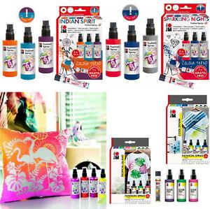 MARABU Fabric Spray Paints Set 4pk - 100ml Bottles CHOOSE YOUR SET Painting Dye