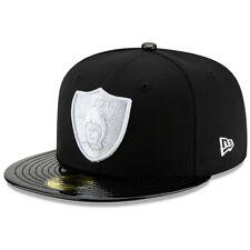 NEW ERA NFL Las Vegas Raiders 59FIFTY Retro Glossy Bill Hat Cap Fitted Black