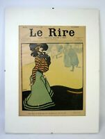 "Vtg. 1902 LE RIRE Front Page Cover 8½"" x11½"" with Mat board & Backing Good Cond."