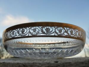 VINTAGE ST. LOUIS Thistle Gold  CRYSTAL BOWL