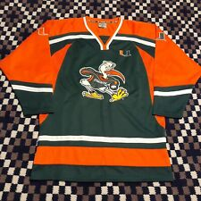 Youth XL Colosseum Sport Miami Hurricanes Sewn Football Jersey Green Orange